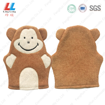 Bear brown style soft bath gloves