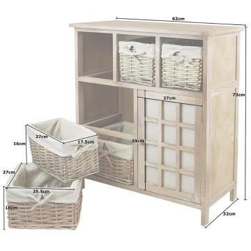 Small medium-sized solid wood furniture cabinet material paulownia + wicker