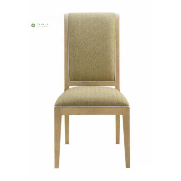 Yellow Fabric Cushion Solid Wood Frame Dining Chair