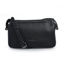 Pebbled Leather Women Leisure Black Crossbody Daily Bags