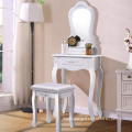 Vanity Wood Makeup Dressing Table Stool Set Bedroom with Mirror