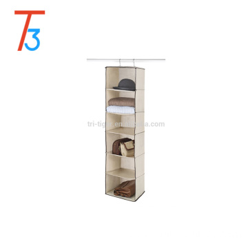 Wholesale 6/7 Shelf Foldable Fabric Cardboard Hanging Closet Organizer