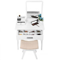 Vanity Makeup Table Set with Square Mirror and Makeup Organizer Dressing Table Designs