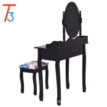 Black wood makeup dressing table stool mirror desk drawer new
