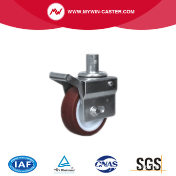 Brown PU Round Stem Swivel Scaffolding Caster