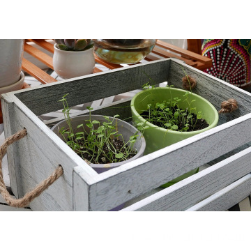 Set of 3 Gardening Wedding Vintage Country Chic Rustic Distressed Style Decorative Storage Wooden Crates