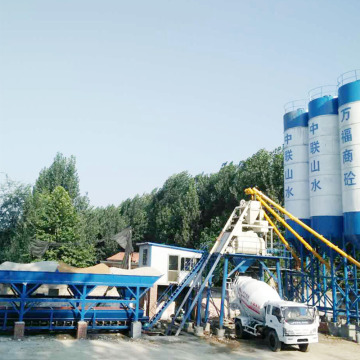 Patent CE HZS90 stationary concrete batching plant