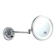Lighted extending bathroom wall mirror