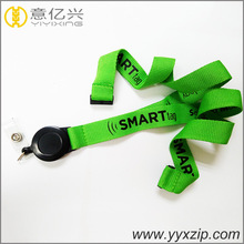 customized size silkscreen lanyard with elastic pull reel