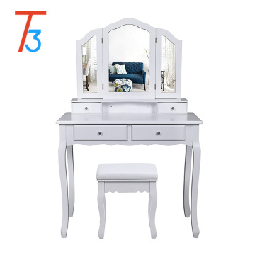 design white wardrobe 3 mirror dressing table with stool bedroom set