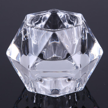 Glass Diamond Cut Tealight Candle Holder