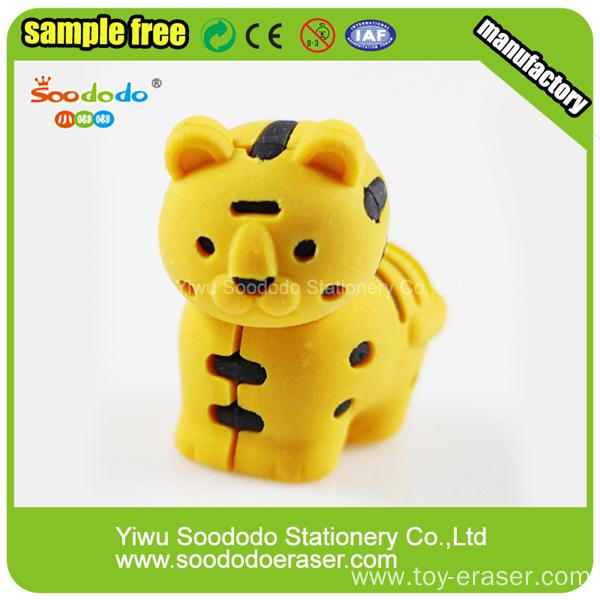 2014 New Design Free Sample Yellow Tiger Eraser