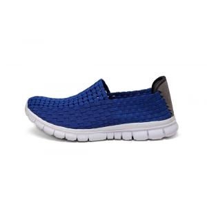 Blue High Quality Fabric Woven Hollow Work Shoes