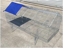 large metal chicken kennel