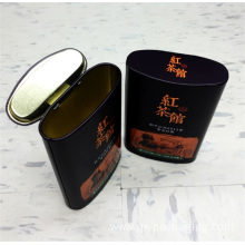 Black metal tin containers with lips