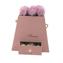 Luxury Trapezoid Flower Container Cardboard Box with Drawer