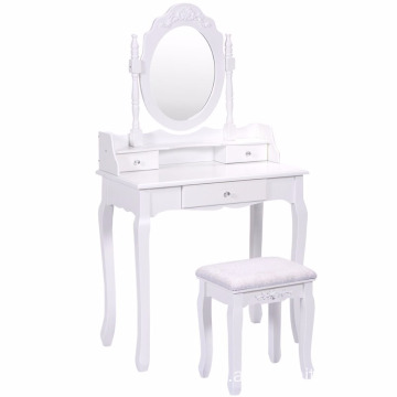 Bathroom 3 Drawers Round Mirror Vanity Wood Makeup Dressing Table Stool Set make up table