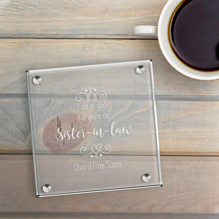 I Am So Glad That Youre My Engraved Square Glass Coaster Set