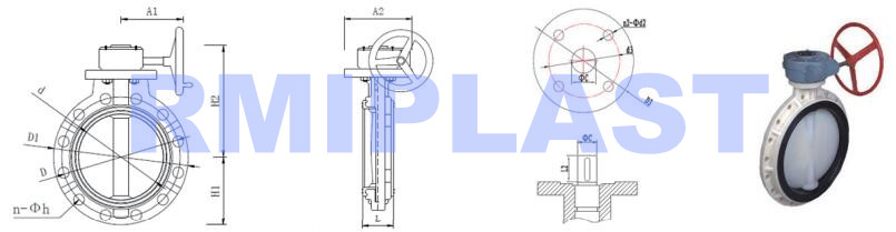 Pp Butterfly Valve Gear Type