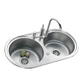 Stainless Steel Kitchen Circular Double Sink