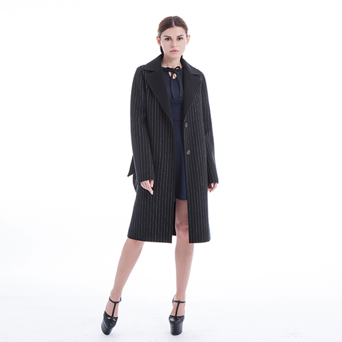 Fashionable Stripe Cashmere Winter Coat