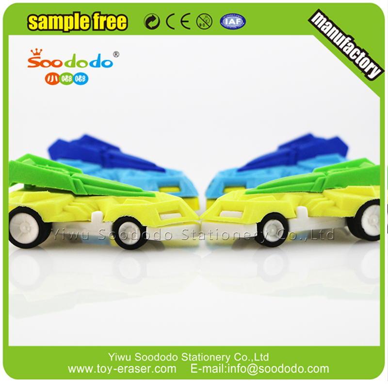 3D racing car transport series kids toy eraser