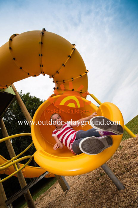 outdoor tube slide playground structure for kids