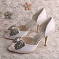 Rhinestone Ivory Peep Toe Heels for Wedding