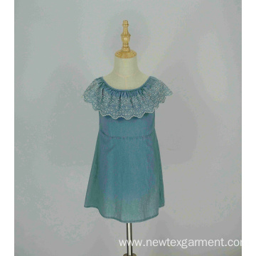 fashion denim off shoulder embroidery frill girls dress