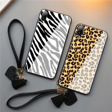 Leopard Tempered Glass Phone Case for Wrist Strap
