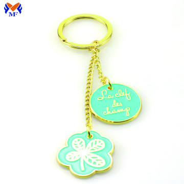 Metal engraved oem enamel keyring for girls