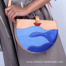 Pure hand-made layer leather small round bag