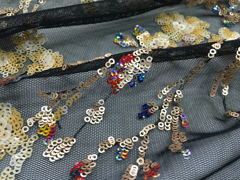 Multicolor Sequins Embroidery Fabric