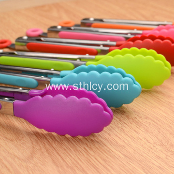 Colorful Silicone Nylon Food Tong Stainless Steel Silicone