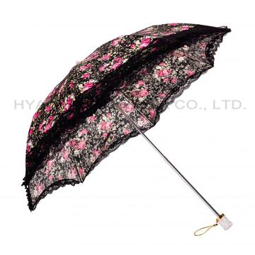 Printed Women's Umbrella With Ruffle Lace