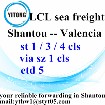 Good Quality for LCL Consolidators Sea Freight Logistics from Shanatou to Valencia export to India Factory