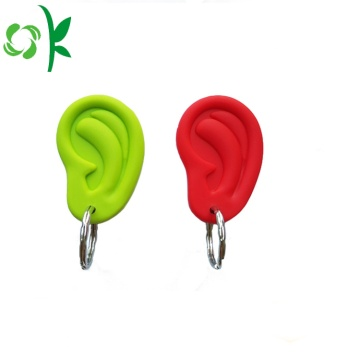 Debossed Unique Design Ear shape Silicone Keyrings