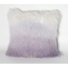 Mongolian Sheepskin Fur Pillow Gradient Purple