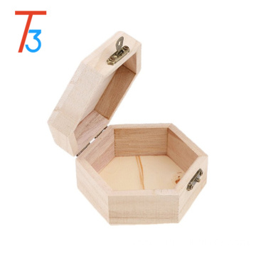 Tri-Tiger hexagon unfinished wooden box with divider
