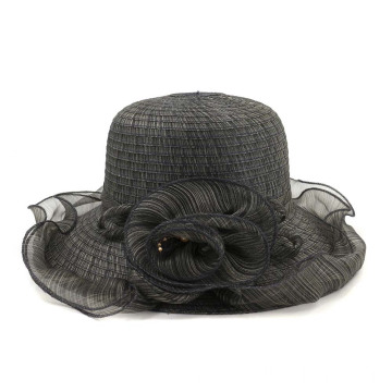 Wide brim beach hat polyester fedora straw hat