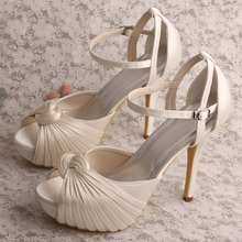 Factory Outlets for China  Satin Bridal Shoes ,Women Satin Shoes ,Satin Lace Edge Bridal Shoes  Manufacturer Wedopus Ivory Sandals for Wedding with Platform export to France Wholesale