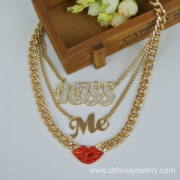Alloy Kiss Me Chain With Lip Charm Chain Necklace For Women