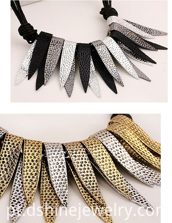 Metallic Choker Collar Alloy Silver Tassel Necklace