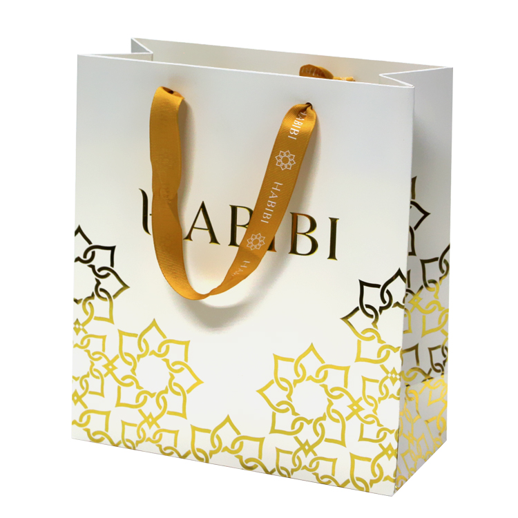 Unique Gold Gift Paper Bag with Ribbon Handle