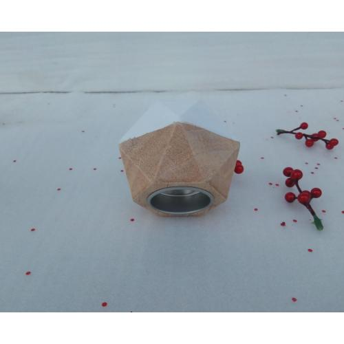 White Polygon Wooden Candle Holders Small Candlestick