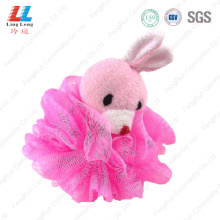 Pink rabbit mesh sponge bath ball