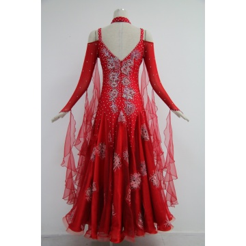 Custom made red long sleeves Ballroom dance dresses