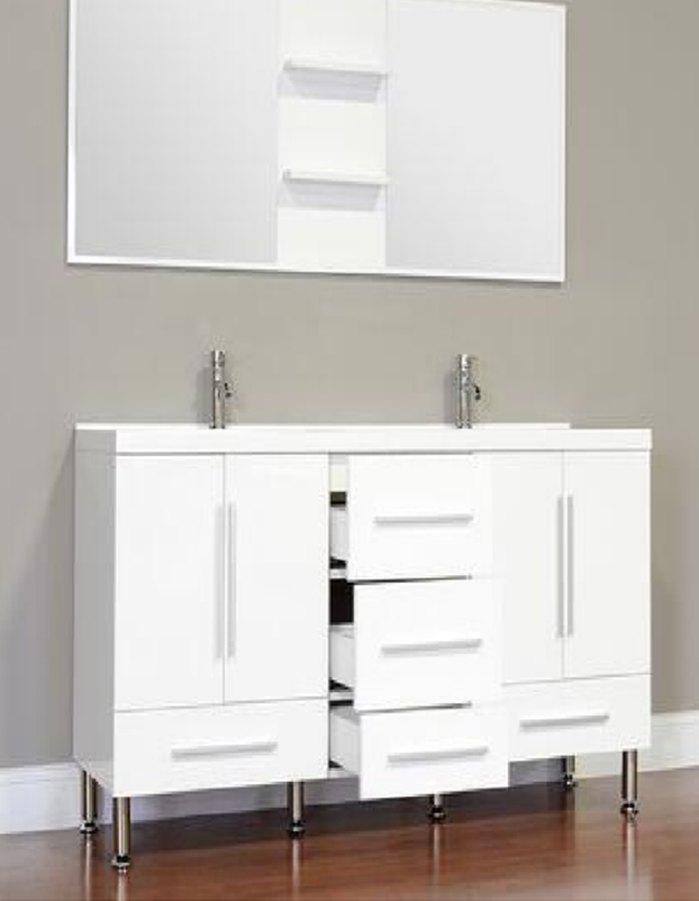 White Unit Bathroom Vanity Cabinet