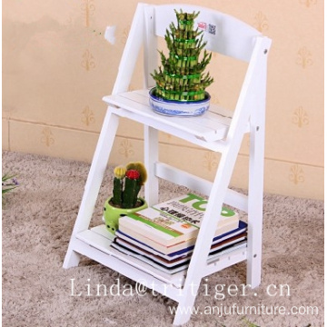 Wood Designed Distressed 2 Tier Freestanding Foldable Flower Pot Shelf