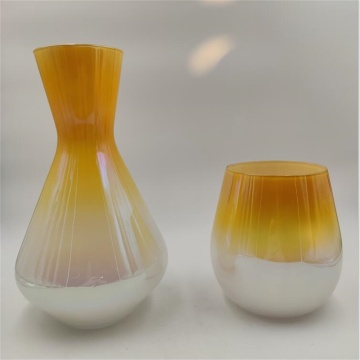 Amber ombre color wine decanter and glass cup